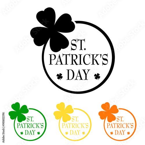 Icono plano St. Patrick\'s Day con trebol tallo circulo varios ...