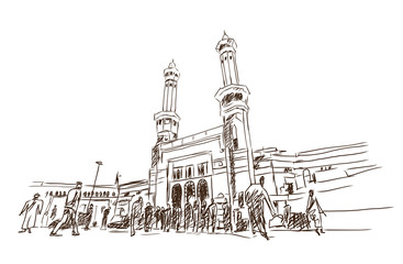 Mosque sketch - Masjid Al Haram in Mecca Saudi Arabia . Vector illustration.