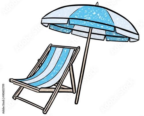 farbige zeichnung liegstuhl und sonnenschirm vektor freigestellt obraz w stockowych i. Black Bedroom Furniture Sets. Home Design Ideas