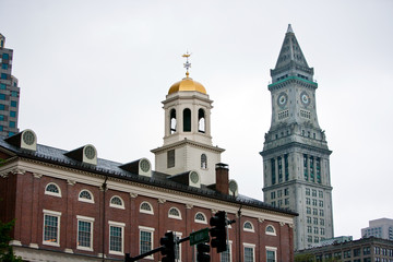 Faneuil Hall with Custom House Tower in background, Boston