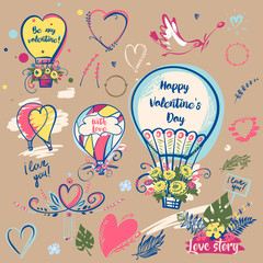 Set of image balloon for happy valentines day, love story. Bird with flower. Text be my valentine