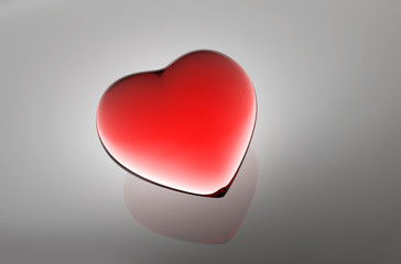 Red Glass Heart. as medical background, 3d illustration