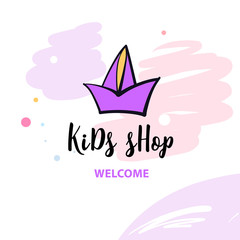 Welcome to kid shop. Hand drawn image with ship on white background