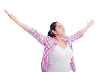 Cheerful female enjoying victory