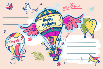 Image of vector color balloon with flower and text. Illustration for happy birthday
