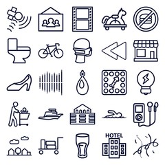 Set of 25 icons outline icons