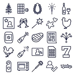 Set of 25 new outline icons
