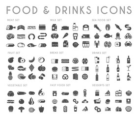 Food and drink black vector icons set.