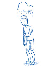 Sad young boy with a symbolic rain cloud over his head. Hand drawn cartoon doodle vector illustration.
