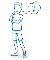 Young boy thinking about something, with question mark in a thought bubble. Hand drawn cartoon doodle vector illustration.