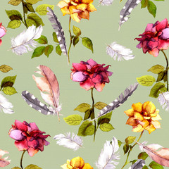Roses and feathers. Seamless pattern. Watercolor