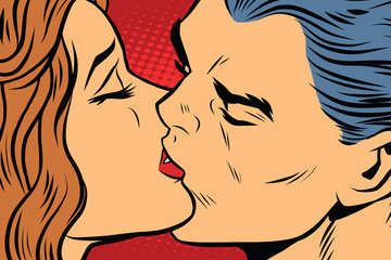 Beautiful man and woman kissing, couple love