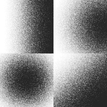 Halftone textures, patterns with black dots, gradient grain grunge vector backgrounds