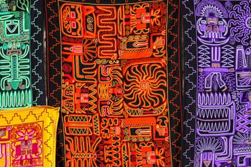 Colorful fabrics on a peruvian market, Ollantaytambo, Sacred Valley, Peru