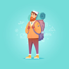 Illustration of Happy Backpacker