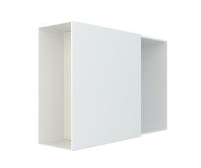 Blank open box isolated on white background. 3d rendering