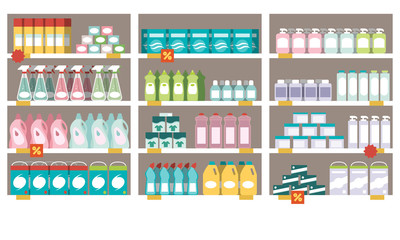 Household products on the supermarket shelves