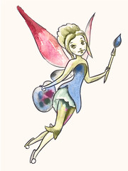 Fairy artist. Girl with brush and wings. Vector image.