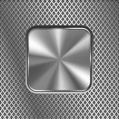 Metal square button on stainless steel perforated background. Diamond shape holes