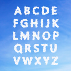 The English alphabet from clouds