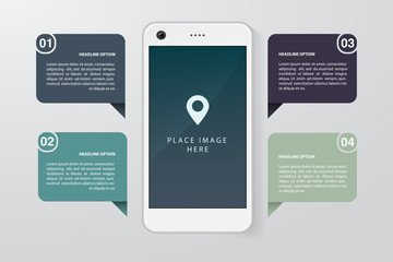 Smartphone realistic illustration with flat infographics elements. Template for website, business presentation, demonstration of mobile application development. Vector eps 10.