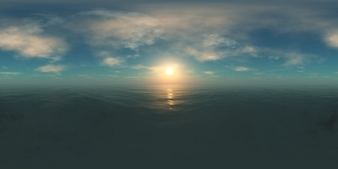 HDRI, environment map, Round panorama, spherical panorama, equidistant projection, sea sunset, panoramic,