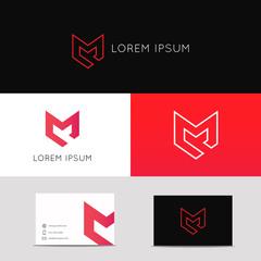 Letter M logo icon sign. Protection shield symbol vector design.