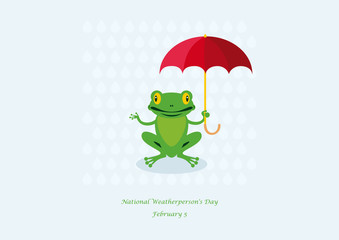 National Weatherperson's Day vector. Frog with umbrella cartoon character. Important day