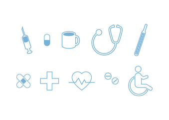 Medical icon set vector. Collection of medical symbols