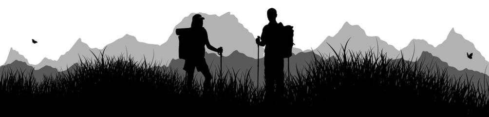 Panorama | Frau und Mann beim Wandern