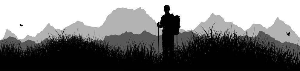 Panorama | Mann beim Wandern