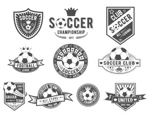 Vector set on soccer theme for logo templates, icons, emblems, promotion, isolated on white background