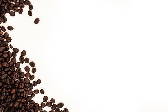 Dark roasted coffee beans border