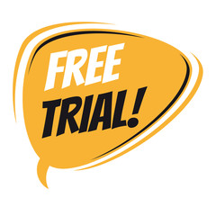 free trial retro speech bubble