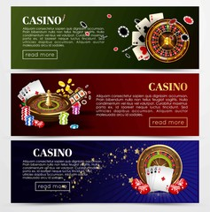 Casino poker roulette cards, dice vector web banners templates