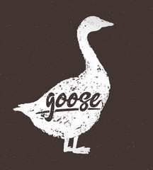 Silhouette vector of the goose, with the inscription, hand drawn illustration.