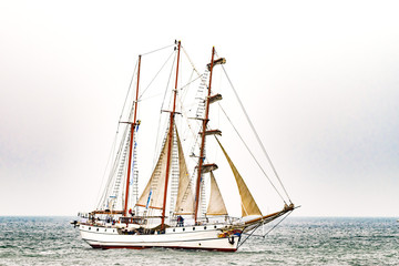 Sailing ship on the sea. Tall Ship.Yachting and Sailing travel.