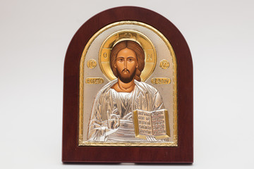 Church icon Silver icon of Jesus with gold inserts