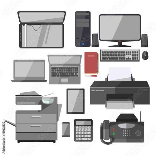 office work equipment devices vector isolated icons set fichier vectoriel libre de droits sur. Black Bedroom Furniture Sets. Home Design Ideas