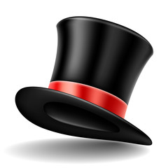 Realistic black top hat with red ribbon, isolated on white, for elegant clothing and accessory