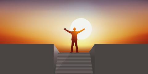 Leadership - Escalier - Réussite - Succès - Coucher de soleil