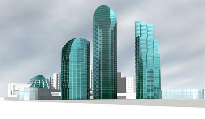 Группа домов с небоскребами. Модель.