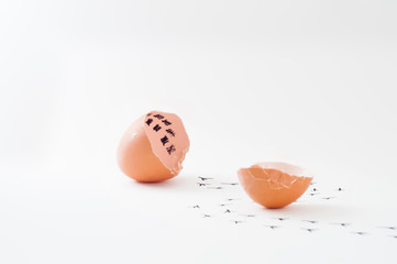 Concept image of broken brown chicken eggshell with calendar inside. Footprints of chick