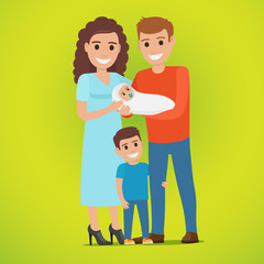 Couple Holds Newborn and Small Boy Standing near