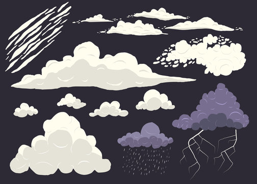Cloud vector set isolated on dark background, cartoon storm cloudscape with different types