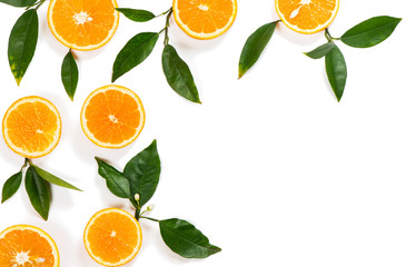 Wall Mural - Orange slices top view.