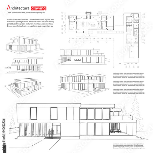 Blueprint drawing of 3d building vector architectural template blueprint drawing of 3d building vector architectural template background eps10 malvernweather Images