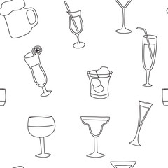 Seamless pattern of alcoholic beverages, collection of glasses
