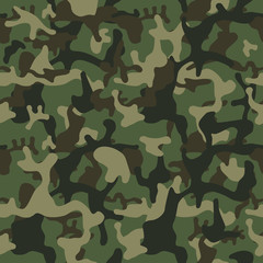 Camouflage pattern background seamless. Classic clothing style masking camo repeat print. Green brown black olive colors forest texture.