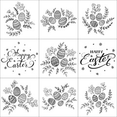 Set of lettering Happy Easter and decorative eggs